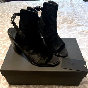 Rag and Bone, open tor bootie leather and fur